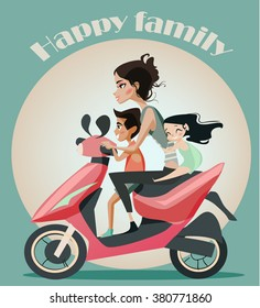 Family of mother and two kids on motorbike.