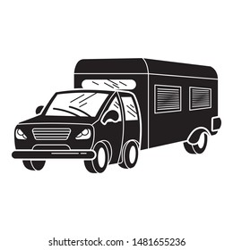 Family motorhome icon. Simple illustration of family motorhome vector icon for web design isolated on white background