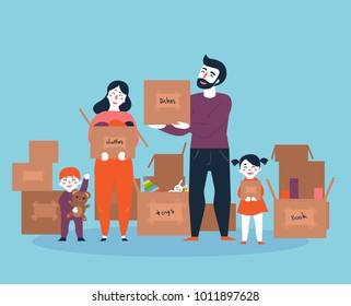 Family moving into a new house with boxes full of household things. Man, woman an their kids. Boy and girl with parents moved to new place. Cartoon illustration in flat style.