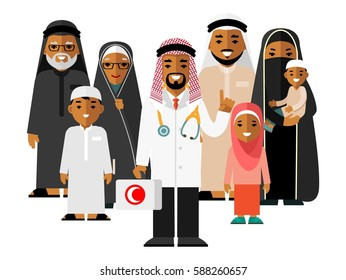 Family muslim arabic doctor concept with young practitioner and happy patients in flat style isolated on background. Islamic doctor standing together with father, mother, children and grandparents