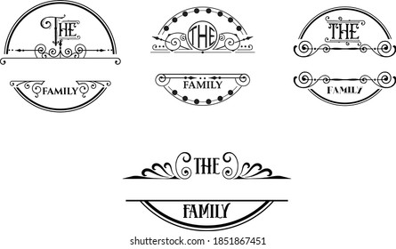 Family Name Monogram Bundle is suitable for t-shirt, laser cutting, sublimation, hobby, cards, invitations, website or crafts projects. Perfect for magazine, news papers, posters, in branding, etc.