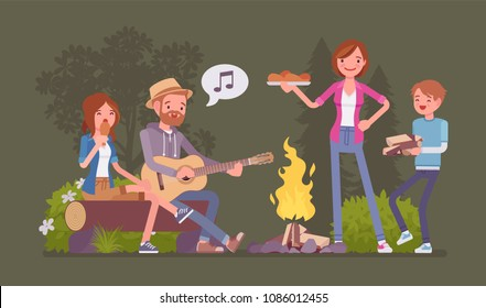 Family near campfire. Parents and children camping at night near fire, staying outside, enjoy weekend singing and eating together, recreation adventure time. Vector flat style cartoon illustration