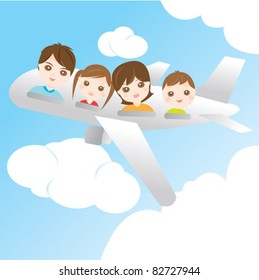 Family on the aeroplane