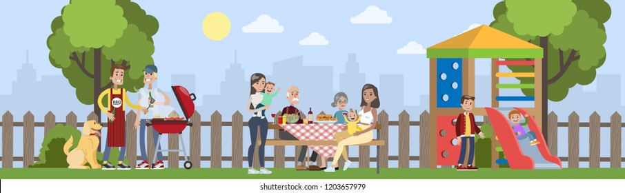 Family on BBQ party on the backyard of the house smiling and eating. Cooking tasty barbeque on grill. Vector illustration in cartoon style