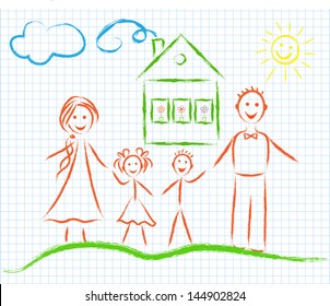 Family on the notebook sheet, vector