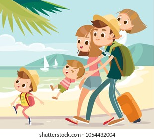 Family on overseas vacation on seashore walking by beach family arrived at tropical resort destination