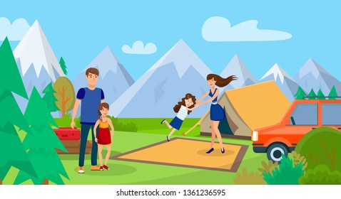Family on Picnic, Camping Trip Vector Illustration. Woman, Man and Girls Cartoon Characters. Couple with Children on Holiday Vacation. Wild Nature, Outdoor Recreation. Encampment with Tent