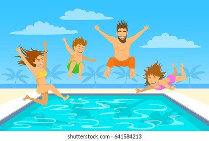 Family on summer beach vacation vector illustration. Man, woman, their children, boy and girl, jumping diving into pool
