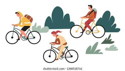 Family outdoor activity hiking or backpacking riding bicycles vector backpack or rucksack and bike active lifestyle recreation and sport mother father and son forest wild nature traveling on vehicle