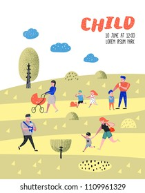 Family Outdoor Activity Poster, Banner. Parents Walking in the Park with Children. Happy People Relaxing on Nature Background. Vector illustration
