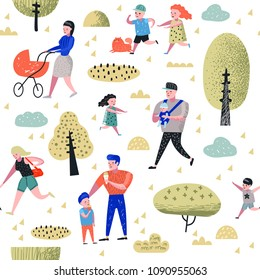 Family Outdoor Activity Seamless Pattern. Parents Walking in the Park with Children Background. Happy People Relaxing on Nature. Vector illustration