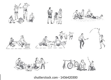 Family outdoor recreation concept sketch. Relatives spend time together, parents and children on picnic, barbecue, camping, fishing, couple playing badminton, leisure set. Isolated vector illustration
