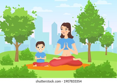 Family outdoor yoga in summer nature calm park vector illustration. Cartoon happy mother and child son yogist characters sitting in lotus position in city garden or park on green grass lawn background