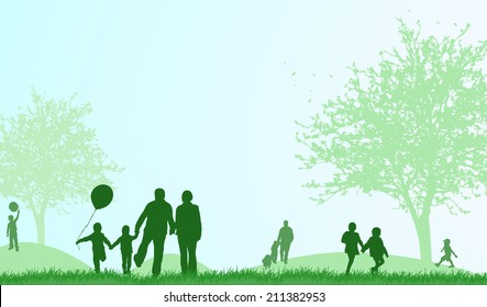Family outdoors summer