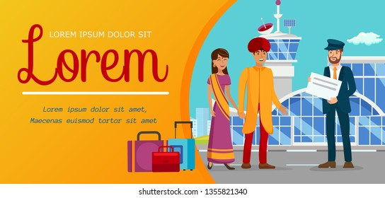 Family Overseas Vacation Flat Color Banner Layout. Man in Turban and Woman in Sari Dress Cartoon Characters. Chauffeur Waiting for Indian Clients. Indian Couple Illustration with Text Space