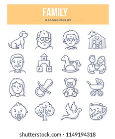 Family and parenthood doodle vector icons for website and printing materials