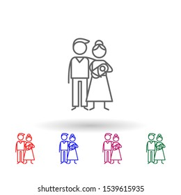 Family, parents, baby multi color icon. Simple thin line, outline vector of family life icons for ui and ux, website or mobile application