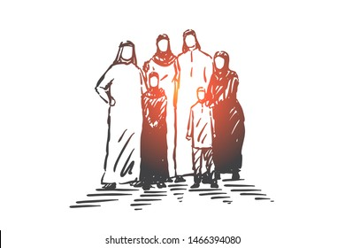Family, parents and child, generations concept sketch. Muslim big family standing togethe with children. Hand drawn isolated vector illustration