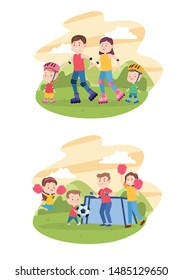 Family parents and children having fun set of cartoons, kids and young dad and mom, children happiness. vector illustration graphic.