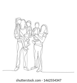 family, parents and children sketch