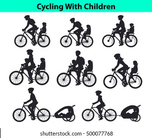 Family, Parents, Man Woman with their children, boy and girl, riding bikes. Safe kids seats and trolleys to travel cycling together  silhouettes vector illustration