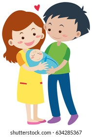 Family with parents and newborn baby illustration