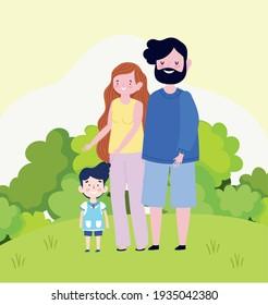 family parents son cartoon landscape