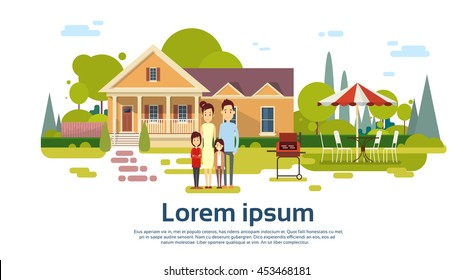 Family Parents With Two Children Summer Outdoors House Flat Vector Illustration