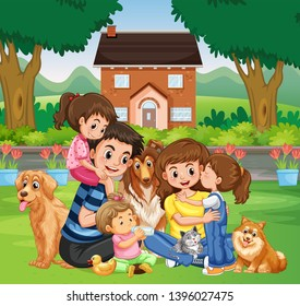 Family at the park illustration