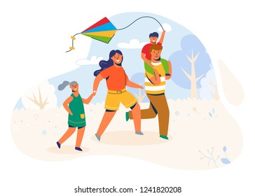 Family in the park launches the Kite. Parents and Children Caracters running Outdoor, playing with wind toy on weekend, vacation, holiday. Vector Illustration