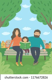 Family in the park. Mother; father and baby girl sitting on the bench outdoors. Child read book. Vector illustration.