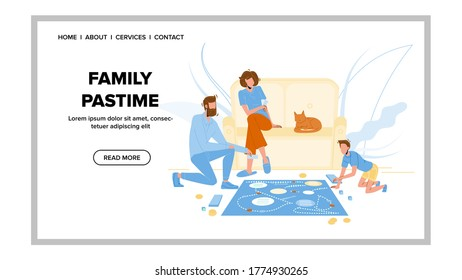 Family Pastime And Enjoyment Board Game Vector. Father, Mother And Son Players Playing Pastime In Room, Cat Animal Lying On Sofa. Characters Funny Active Time Web Cartoon Illustration