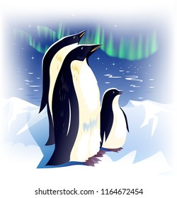 Family of penguins in Antarctica on the background of snow and Aurora. Vector illustration.