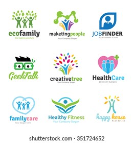 Family and people logo set for vector logo template
