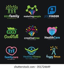 Family and people logo set,logo collection,logo set,vector logo template