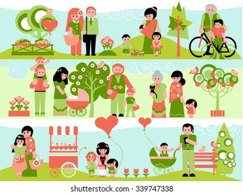 Family People Outdoor Flat Icons Set with Landscaping Elements