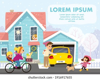 Family, people outdoor in winter on Christmas. Winter season,snowfall,cold outside. Children look out the window and play outdoors.Vector illustration.Girl walking dog.Mother with childs rides bicycle