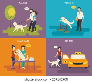 Family with pet concept flat icons set of walking in the park with a dog, passing veterinary medical exam, pet training and ordering taxi. Vector illustration of family animals and dog care