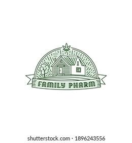 Family Pharm one line logo badge design