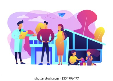 Family phisician with husband, pregnant wife and playing children. Family doctor, medical family practice, primary healthcare care concept. Bright vibrant violet vector isolated illustration