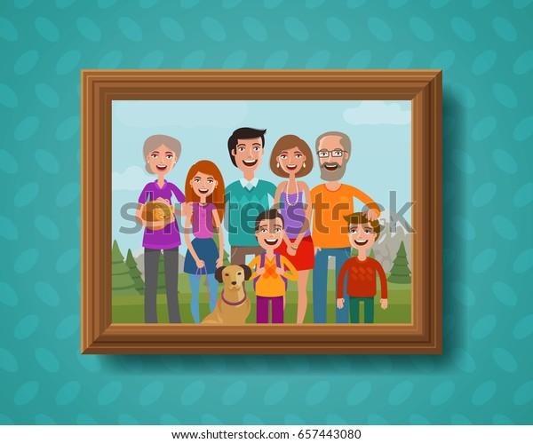 Семейная фотография на стене в деревянной раме. Мультфильм векторная иллюстрация
