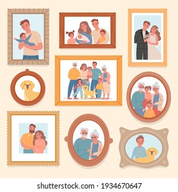 Family photos. Parents and kids portrait in frames. Memory pictures with wedding, grandparents, newborn baby. Big families vector photograph