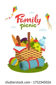 Family picnic concept. Wicker picnic basket full of healthy food, picnic blanket, kites, ball on grass. Bottle of water, apple, pear, cheese, french bread, grape, tomato, salad. Vector illustration