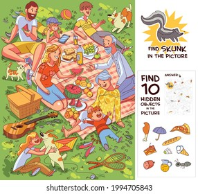Family at picnic. Find 10 hidden objects in the picture. Find Skunk. Puzzle Hidden Items. Funny cartoon character. Vector illustration