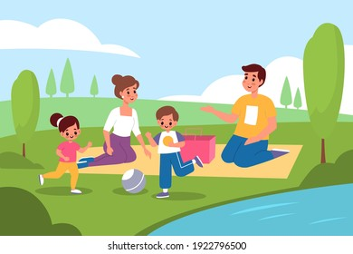 Family picnic in nature. Parents and kids walk in park, people on lake shore summer landscape, lunch outdoor, happy mom and dad, son and daughter together. Playing ball on grass vector cartoon concept