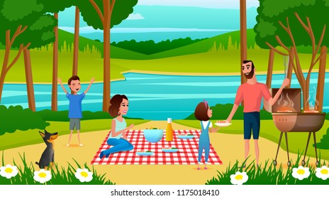 Family Picnic in Park or River Bank Cartoon Vector Illustration with Happy Family Members Resting Outdoors, Father Cooking barbeque, Wife Sitting on Plaid, Children Playing Around. Weekend Leisure
