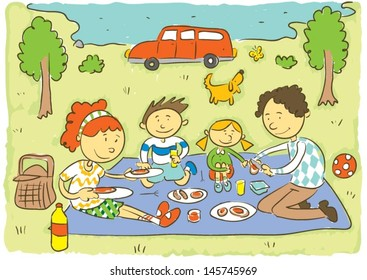 Family picnic.Child's hand drawing vector illustration on happy family having picnic of meadow