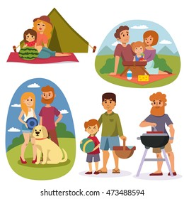 Family picnicking summer happy lifestyle park outdoors together, enjoying vacation character vector
