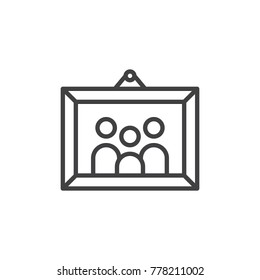 Family picture in photo frame line icon, outline vector sign, linear style pictogram isolated on white. Symbol, logo illustration. Editable stroke