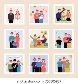 Family pictures showing the passing of time vector illustration flat design